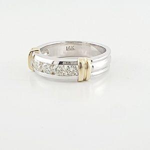 Jewelry - Mens Yellow White Gold Natural Round Diamond Band